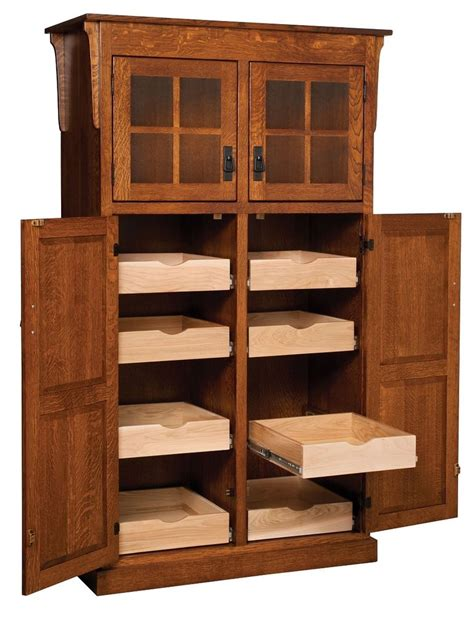 Amish Mission Rustic Kitchen Pantry Storage Cupboard Roll Kitchen Pantry Furniture