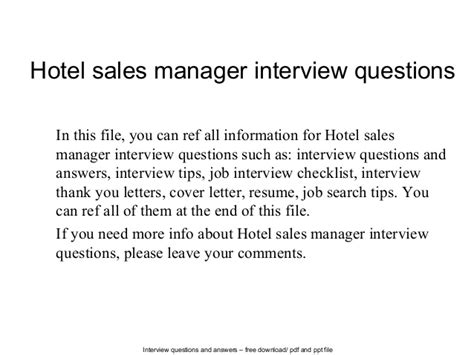 hotel sales manager questions