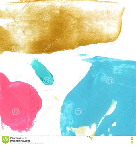 blue pink and gold paint stains on white background bright creative texture stock