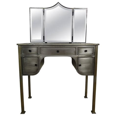 Industrial Vanity Table Midcentury Industrial Style Vanity Desk And Bench By United For Sale At 1stdibs
