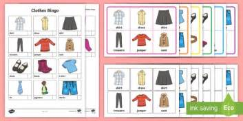 Clothing Themed Words | clothes themed bingo bingo games vocabulary clothes