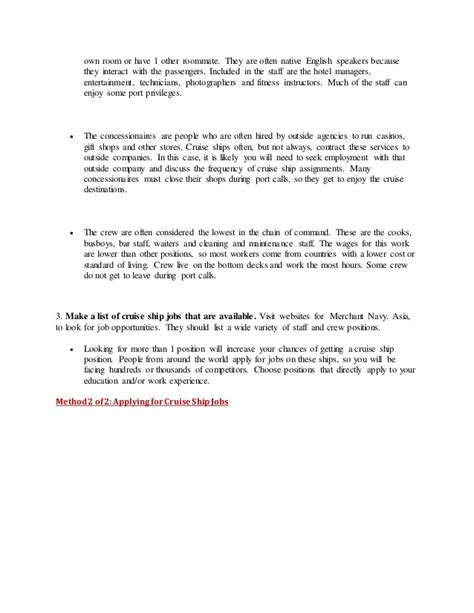 Cruise Ship Cover Letter by How To Join On Cruise Ships