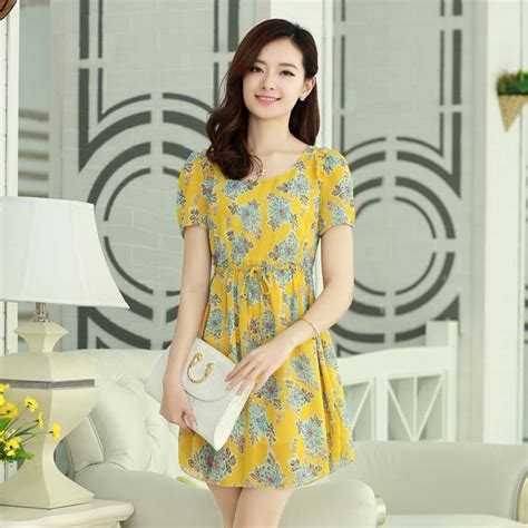 Korean Style Flower Dress summer chiffon dress korean style sleeve floral printed temperament slim flower