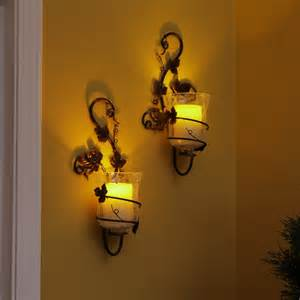 Flameless Candle Wall Sconce Wholesale Flameless Sconce With Vine Styling And Pillar Candle