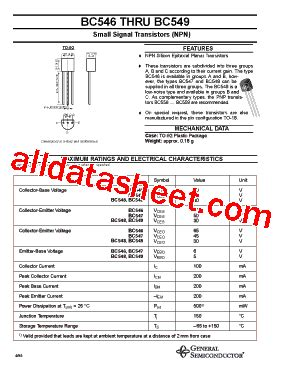 transistor bc547 pdf bc547 datasheet pdf general semiconductor