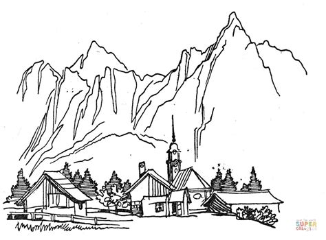 village in the mountains coloring page free printable