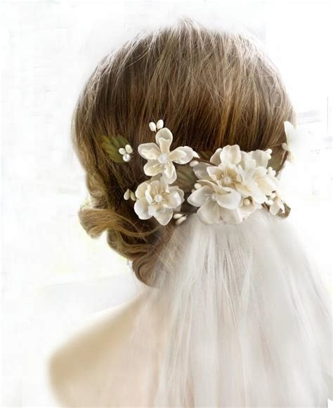 Wedding Hair With Veil And Headpiece by Bridal Headpiece Bridal Flower Hair Clip Hair