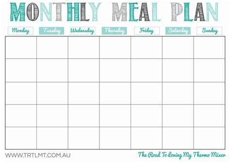 printable monthly meal planners kittybabylovecom