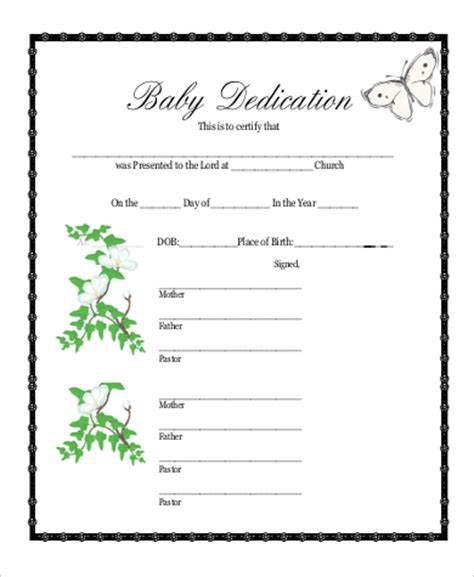 dedication template baby dedication certificate template size of themes