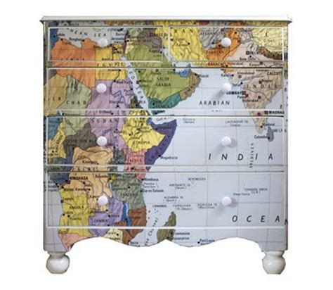 Decoupage Map - dishfunctional designs upcycled dressers painted