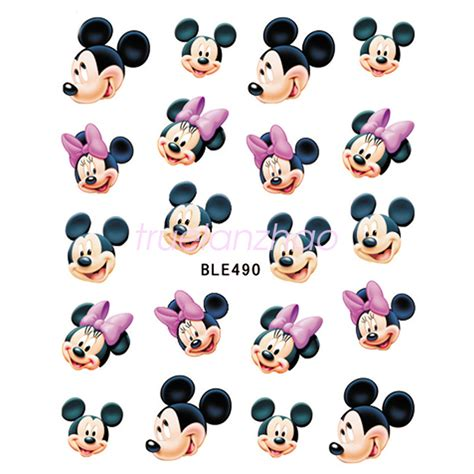 Minnie Nail Water Sticker 1 Sheet Multi Color disney decals princess mickey minnie mouse for nail