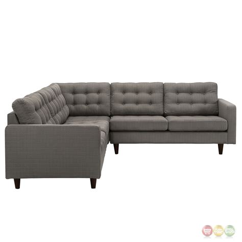 Tufted Sectional Sofa Empress 3 Button Tufted Upholstered Sectional Sofa Set Granite