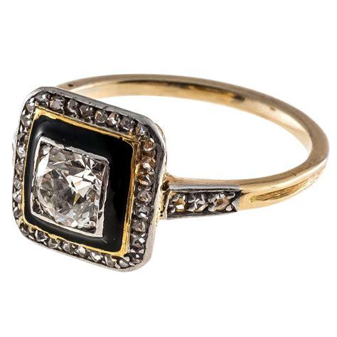 deco platinum ring deco black enamel yellow gold platinum ring at 1stdibs