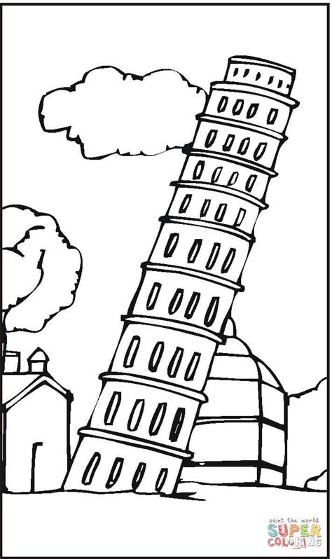 leaning tower of pisa coloring page free printable