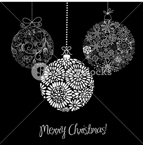 black and white christmas ornaments royalty free stock