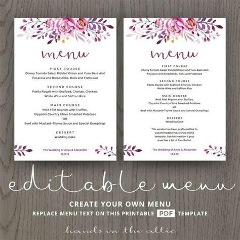 buffet cards template the 25 best wedding menu template ideas on