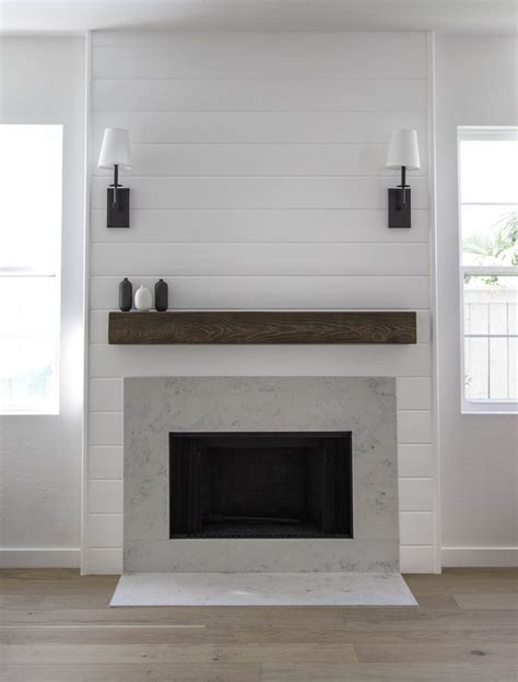 shiplap fireplace shiplap fireplace with quartz by studio matsalla