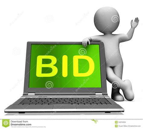 bid stock bid laptop and character shows bidder bidding or auctions