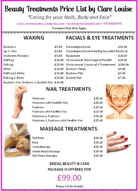beauty price list beauty treatments price list clarelouisetee
