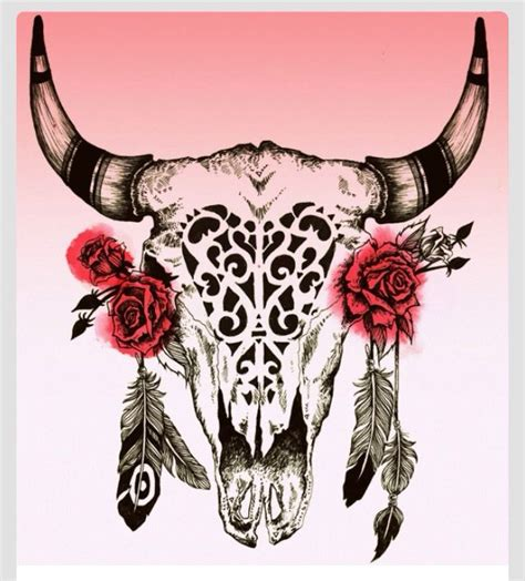 intricate cow skull with roses tats pinterest cow