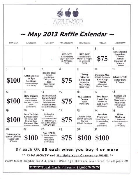 Sell Calendars Fundraiser Annual Raffle Calendar Fundraiser Applewood Learning Center