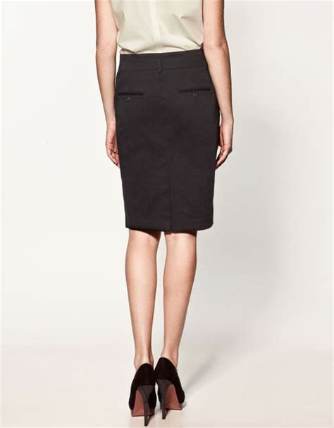zara twill pencil skirt in black lyst