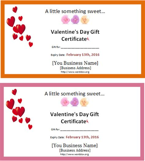 Valentine Gift Card Templates - valentine s day gift certificate editable ms word template document templates