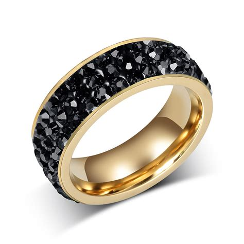 Black Sapphire 6 s black sapphire white gold filled wedding band ring