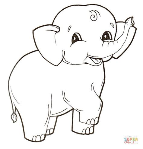 Cute Baby Elephant Coloring Page Free Printable Coloring Elephant Colouring Page