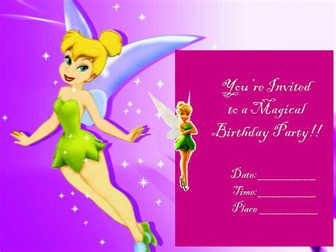 tinkerbell birthday card template tinkerbell printable invitation free