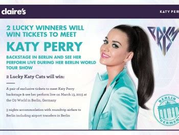 Katy Perry Sweepstakes - claire s meet katy perry in berlin sweepstakes sweepstakes fanatics