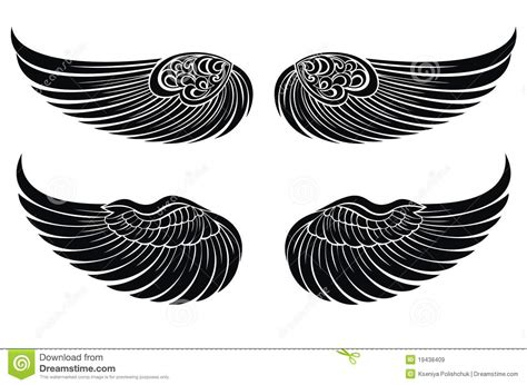 set of wings tattoo design elements stock vector