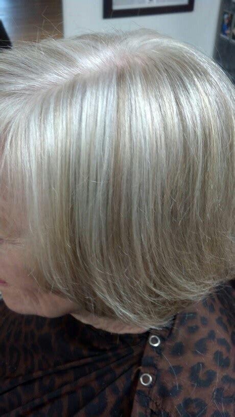 natural white   color  lights blending gray hair