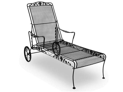 Black Wrought Iron Patio Chaise Lounge by Meadowcraft Dogwood Wrought Iron Chaise Lounge 7615400 01