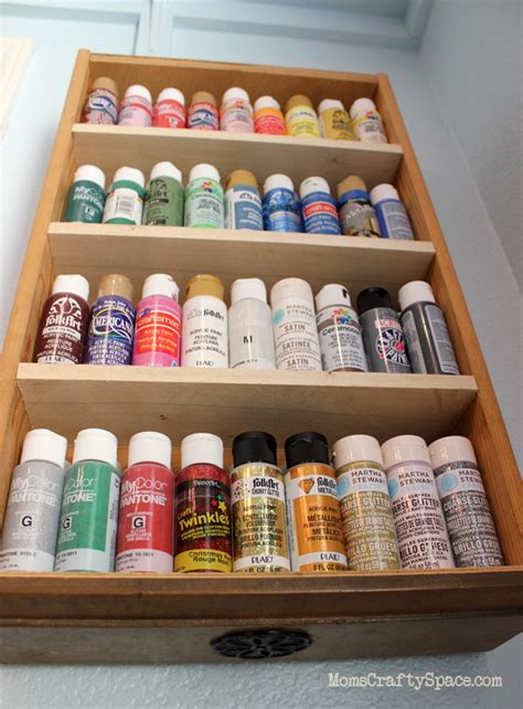 Craft Shelf by Repurposed Drawer To Craft Paint Storage Shelf