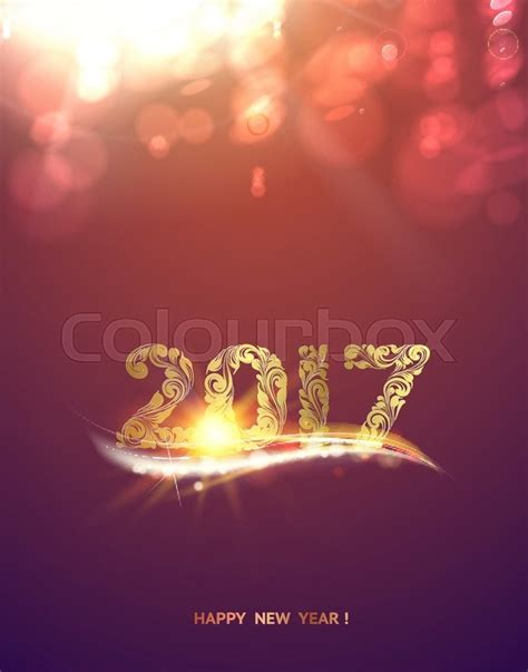 Happy New Year 2017 Card Template by Gold Template Purple Background With Golden Bokeh