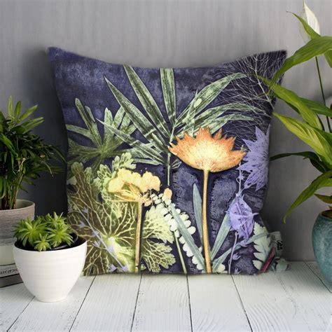 Tropical Interiors Florist by Midnight Jungle 1 Green Blue Sofa Cushion Tropical