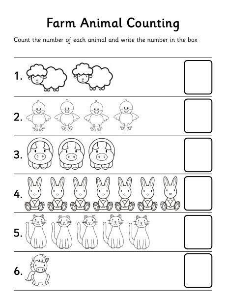 printable math worksheets for kindergarten counting farm animal counting worksheet tareas escolares
