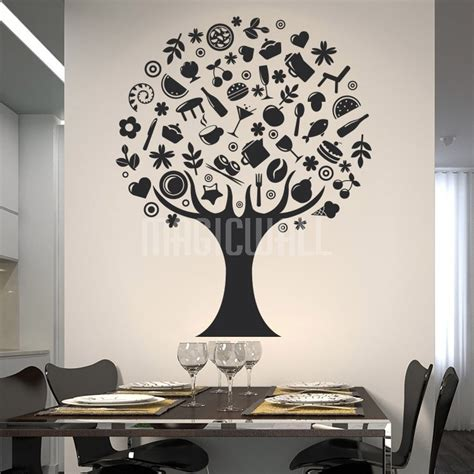 wall decals room wall stickers foods tree dining room restaurant