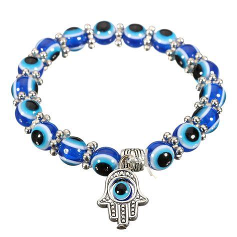evil eye glass bead bracelet handmade unisex evil eye glass palm elastic bracelet