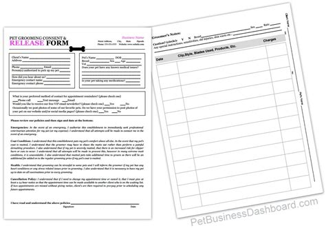 printable grooming client record cards template grooming release form client record sheet http www