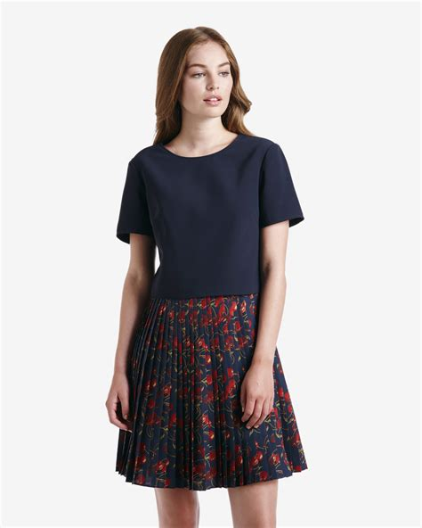kirsch plissee ted baker cheerful cherry pleated skirt dress in blue lyst
