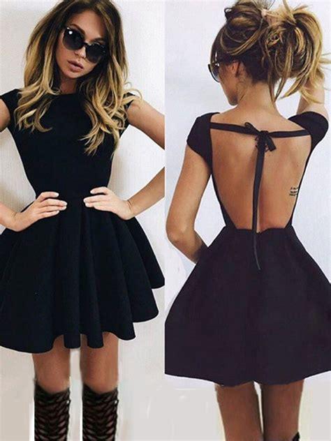 Plain Black Long Sleeve Mini Dress