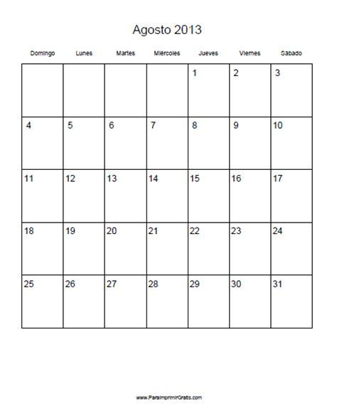Calendario Agosto 2013 Calendario Agosto 2013 Para Imprimir Gratis