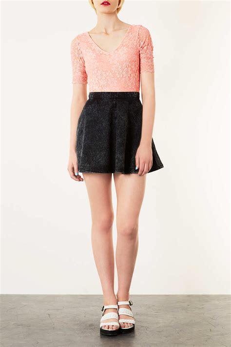 topshop moto black acid denim skirt in black lyst