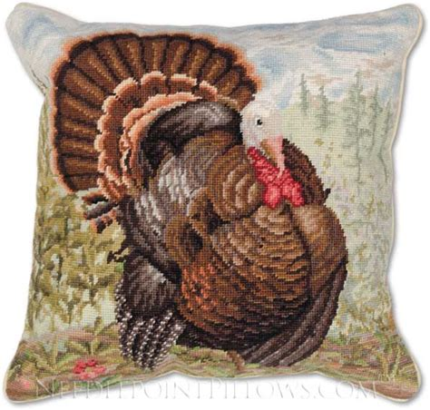 Handmade Turkey - handmade thanksgiving needlepoint turkey pillow