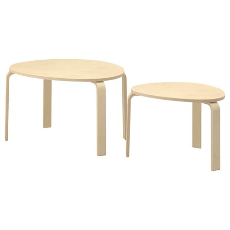 svalsta nest of tables set of 2 birch veneer ikea