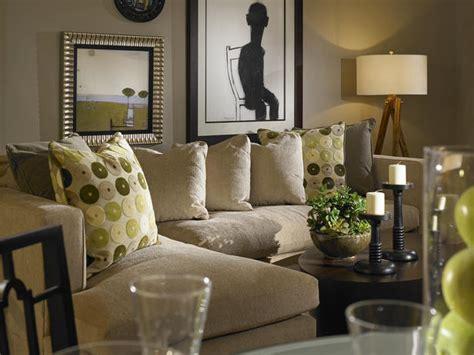 white and green living room dark gray walls in neutral living room hgtv