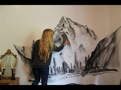 paint on wall misty mountains wall speed painting youtube