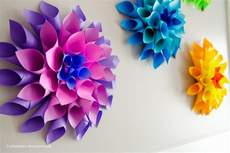 How To Make Rainbow With Paper - bright diy rainbow paper dahlia flowers to make kidsomania